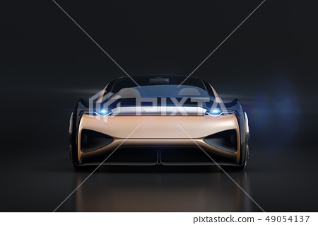 一輛自駕駛的電車豪華交誼廳的前面圖像在金屬金子顏色的在黑色後面。原創設計 49054137