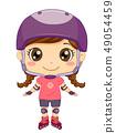 Kid Girl Pose Roller Blades Illustration 49054459