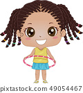 Kid Girl Hula Hoop Illustration 49054467