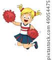 Kid Girl Cheerleader Jump Illustration 49054475