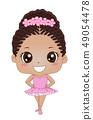 Kid Girl Black Ballet Illustration 49054478