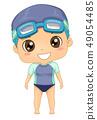 Kid Boy Swimming Suit Illustration 49054485