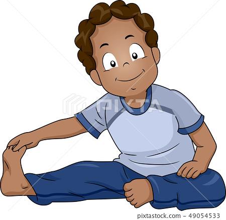 Kid Boy Black Stretching Illustration 49054533
