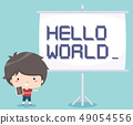 Kid Boy Teach Coding Illustration 49054556