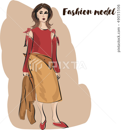 Fast fashion sketch of woman in brown colour 49055506