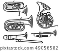 Set of simple brass wind musical instruments. 49056582