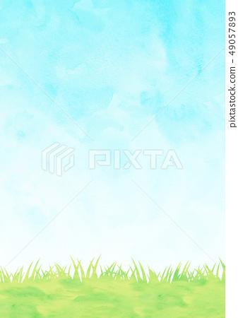 草甸和天空水彩風格 49057893