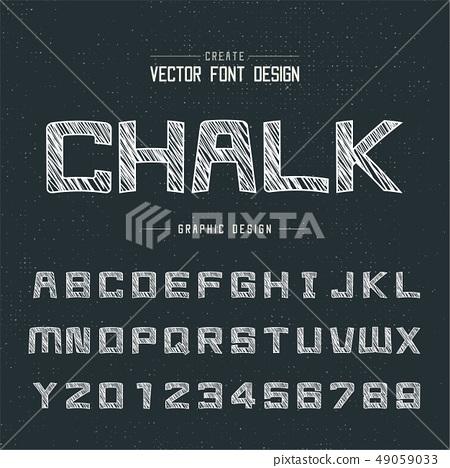 Chalk cartoon font and alphabet vector, Square 49059033