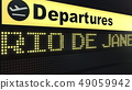 Flight to Rio de Janeiro on international airport departures board. Travelling to Brazil conceptual 49059942
