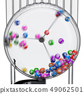 Lottery machine with lottery balls in motion 49062501