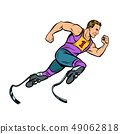 disabled runner with leg prostheses running forward. sports competition 49062818
