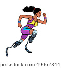 disabled African woman runner with leg prostheses running forward. sports competition 49062844