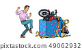 Man and motorcycle holiday gift box, isolate on white background 49062932