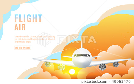 Landing page design, banner with flying airliner in sky with clouds, passenger aircraft, plane 49063476