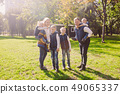 Theme family active leisure outside in nature. large Caucasian family with four children. Mom and 49065337