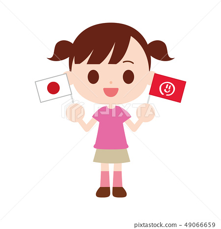 Girl cheering with two flags Japan flag, smile mark flag 49066659