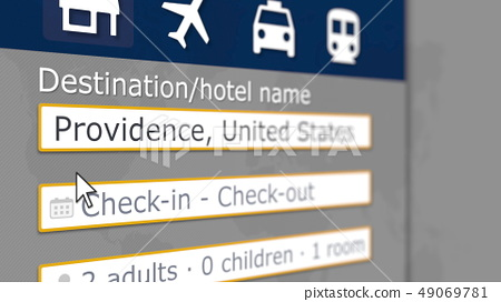 Hotel search in Providence on some booking site. Travel to the United States related 3D rendering 49069781