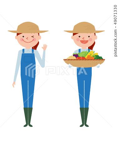 ชาวนาผู้หญิงผักเต็มความยาวคนทำงานภาพประกอบเวกเตอร์ 49071330