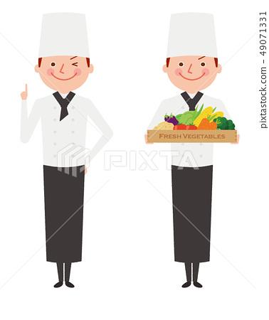 廚師男性菜全身工作者例證 49071331