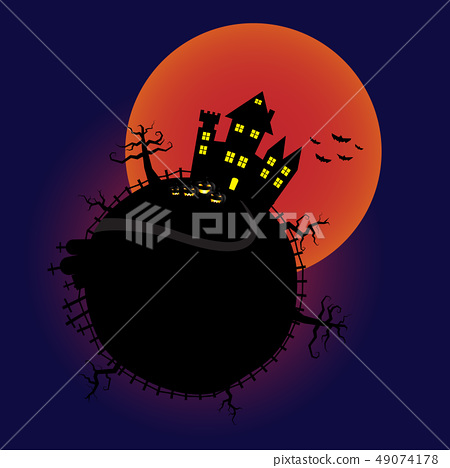 Halloween pumpkins and castle with bloody Moon 49074178