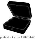 Jewelry box. Empty open gift box. Black icon 49076447