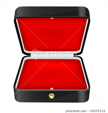 Black jewelry box with red velvet lining 49076518