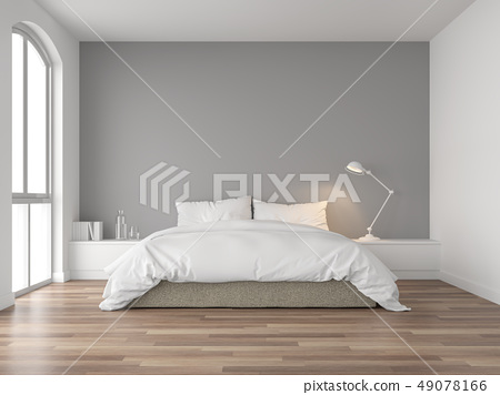 Minimal bedroom with gray wall 3d render 49078166