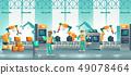 Modern factory robotized conveyor cartoon vector 49078464