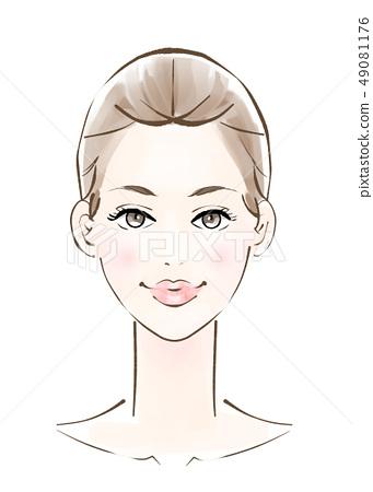 美女形象成人的臉 49081176