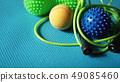 Massage ball roller for self massage, reflexology and myofascial release on blue 49085460