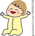 嬰孩坐的微笑banzai 49086308