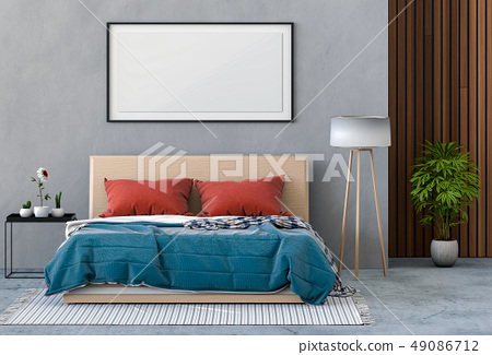 Mockup blank poster of interior bed room 49086712
