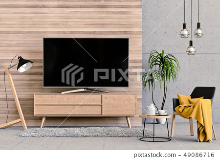 interior modern living room with smart tv 49086716