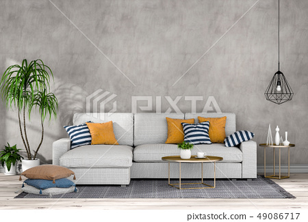 interior living room wall concrete with sofa 49086717