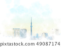 Sky Tree from Odaiba Watercolor style 49087174