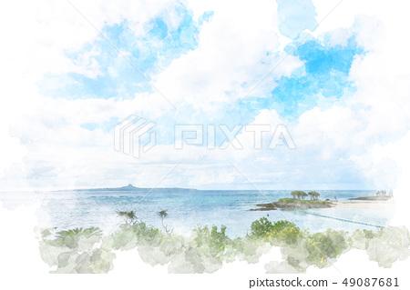 冲绳翡翠海滩水彩风格 49087681