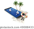 3d illustration of smartphone with tickets, On-line Travel Concept 49088433