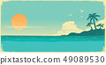 Tropical island paradise.Vintage poster background 49089530