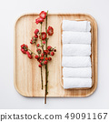 Spa treatment concept, flat lay composition with towels and flowers 49091167