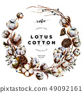 Watercolor Rustic Cotton Wreath 49092161