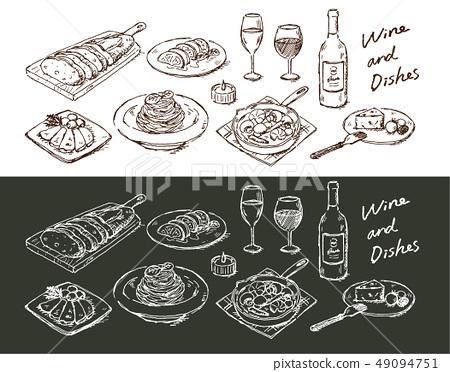 手繪的食物搭配葡萄酒 49094751