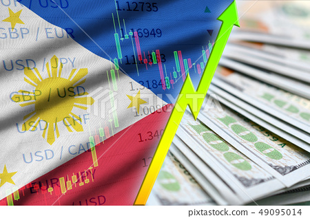 Philippines flag and chart growing US dollar 49095014