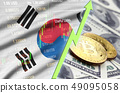 South Korea flag and cryptocurrency growing trend 49095058
