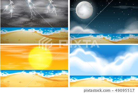 Set of beach background with different weather 49095517