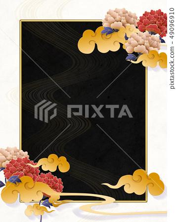 日本現代云牡丹黑白相框 49096910