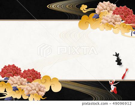 日本現代云 - 牡丹黑色和白色框架金魚 49096912