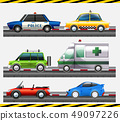 Set of different car on the road 49097226
