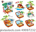 Set of beach in the travel luggage 49097232