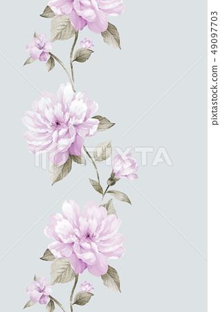盛開的玫瑰花 手繪花卉素材 49097703