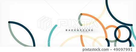 Curly wave lines abstract background design, transparent color lines on gray 49097991